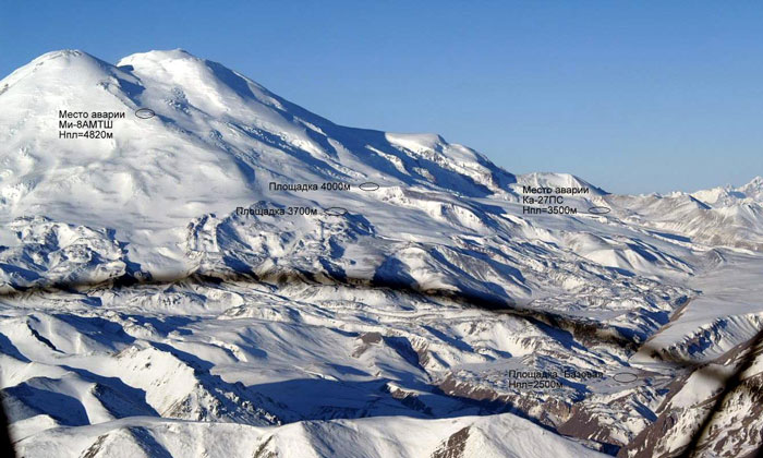 Северный склон Эльбруса, места аварий.
